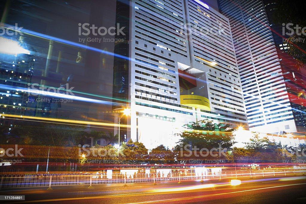 Traffic trough downtown royalty-free stock photo
