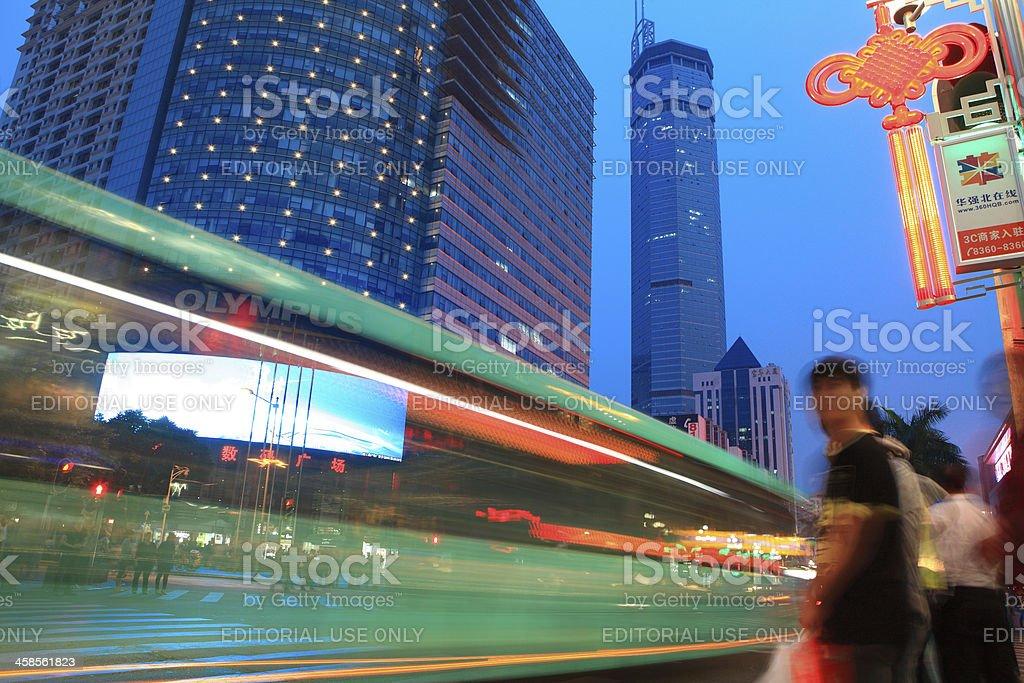 Traffic trough Shenzhen in Huaqiang Bei district royalty-free stock photo