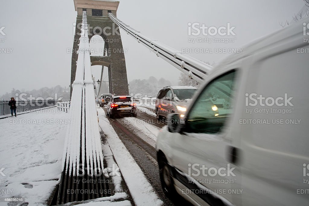Traffic trying to cross Clifton Suspension bridge royalty-free stock photo