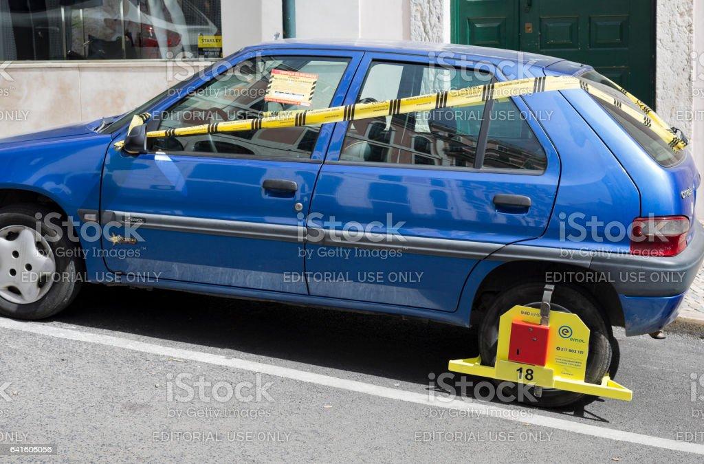 Traffic Wheel Clamping stock photo