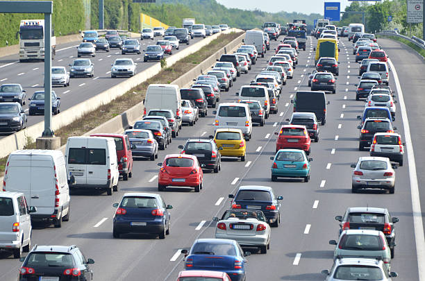 traffic-jam on highway - highway stock photos and pictures