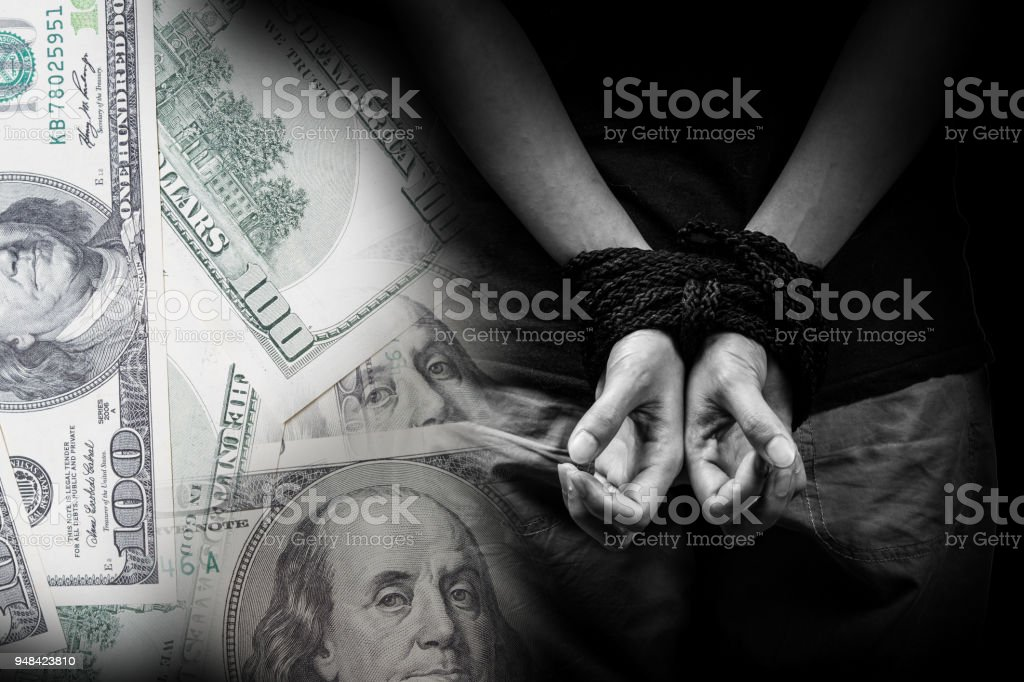 Trafficking concept with money background stock photo