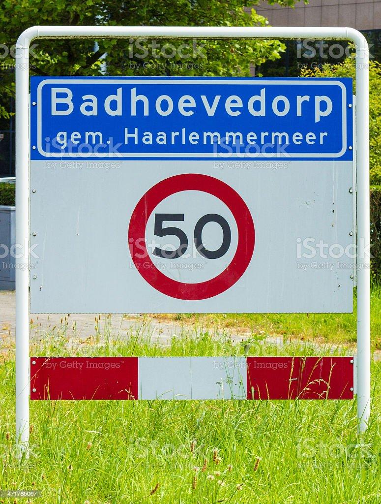 Trafficsign Badhoevedorp with the speedlimit stock photo