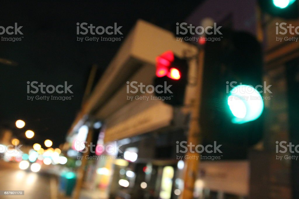 Trafick light blur at night stock photo