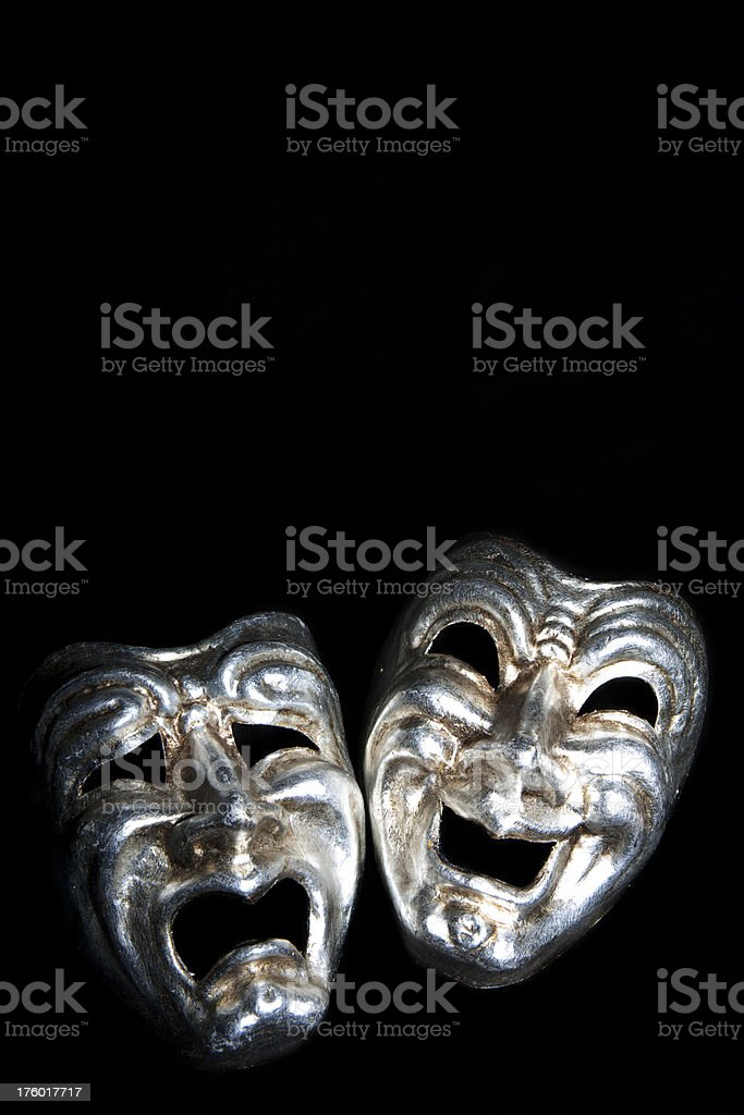 Tragedy and comedy masks stock photo