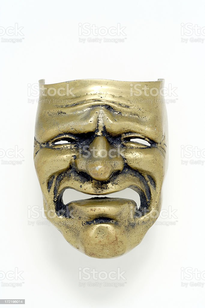 Tragedy brass mask on white background royalty-free stock photo