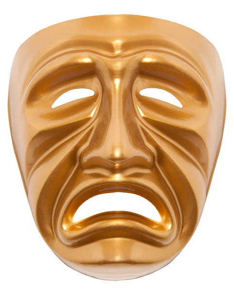 tragedy theatrical mask isolated - tragedy mask stock photos and pictures
