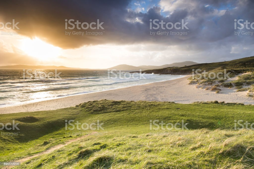 Traigh Lar beach from Horgabost on Harris, Outer Hebrides at sunset stock photo