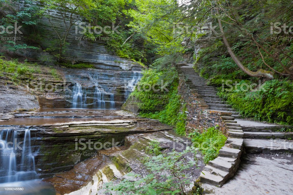 Trail and Cascades stock photo