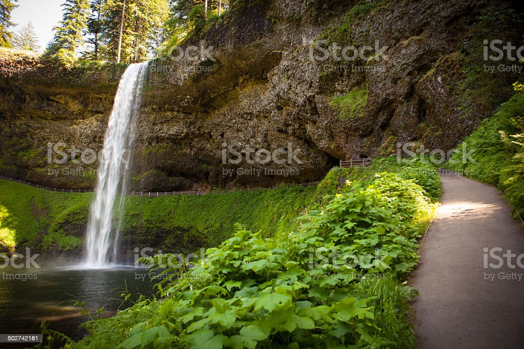 Trail and waterfall at Silver Falls State Park in Oregon stock photo