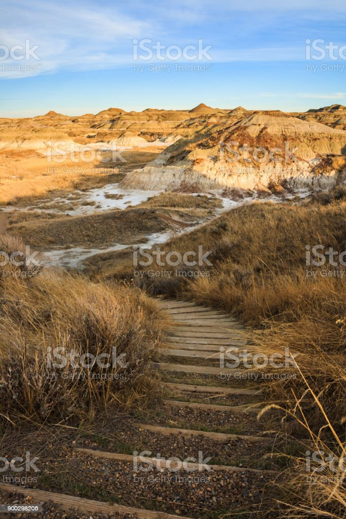A trail anong the badlands in Dinosaur Provincial Park stock photo