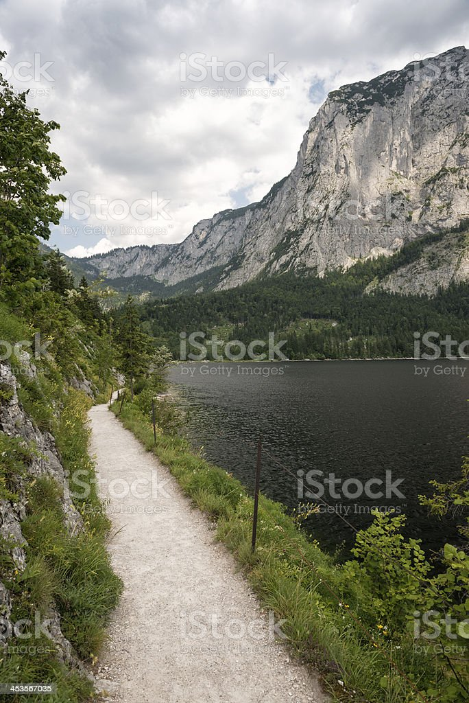 Trail around Lake Altaussee with the Mountain Trisselwand, Austria royalty-free stock photo
