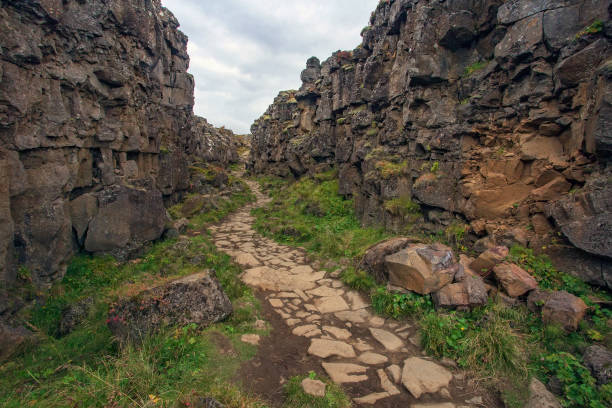 Trail am Nationalpark Þingvellir, Island – Foto