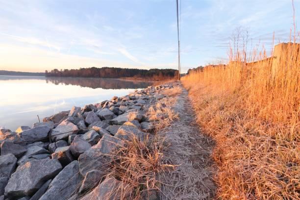 Trail at Lake Crabtree County Park stock photo