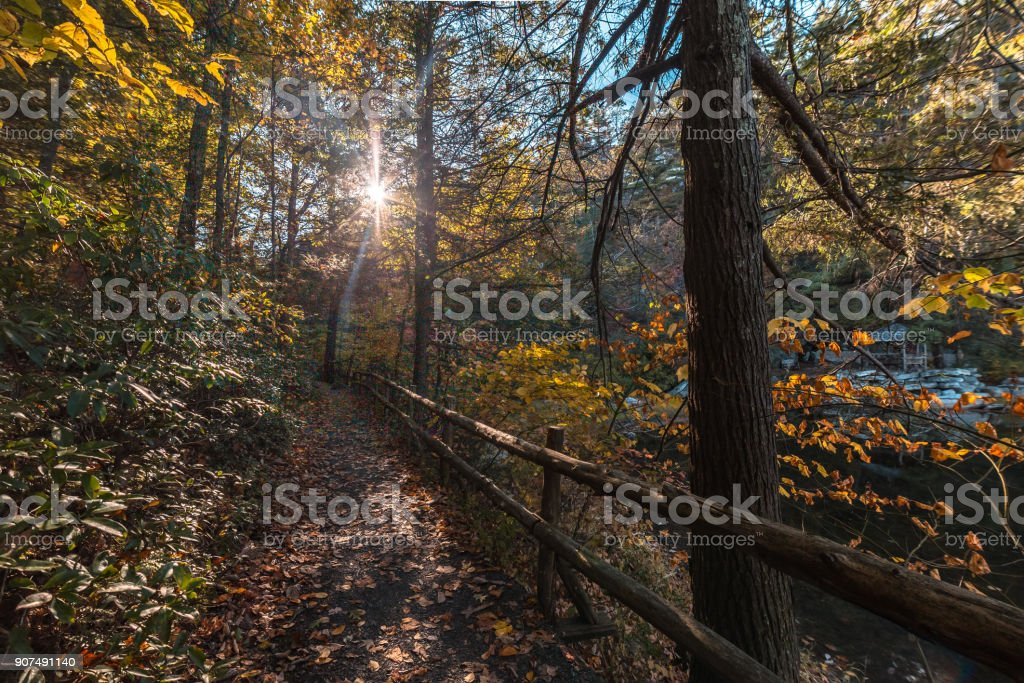 Trail in Mohonk Preserve stock photo