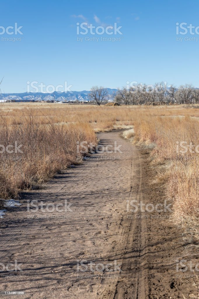 Trail in Rocky Mountain Arsenal stock photo