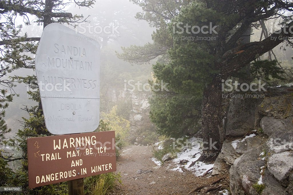 trail in the fog 2 stock photo