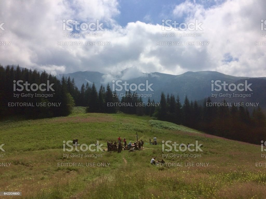 Trail in the mountains stock photo