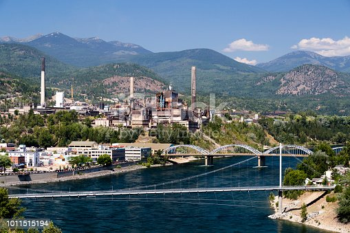 View of the city of Trail and the lead and zinc smelter in the West Kootenay, British Columbia, Canada.