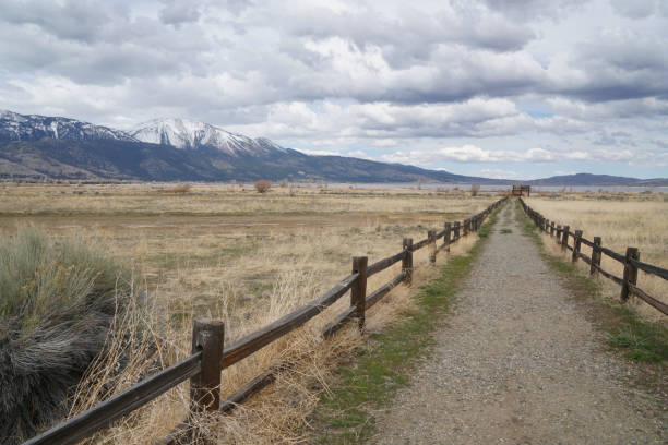 A trail leads to Washoe Lake in Washoe Valley, Nevada stock photo