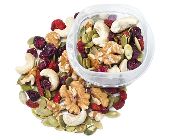 Trail mix container on white stock photo