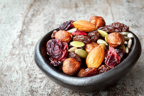 Trail Mix in Black Bowl stock photo