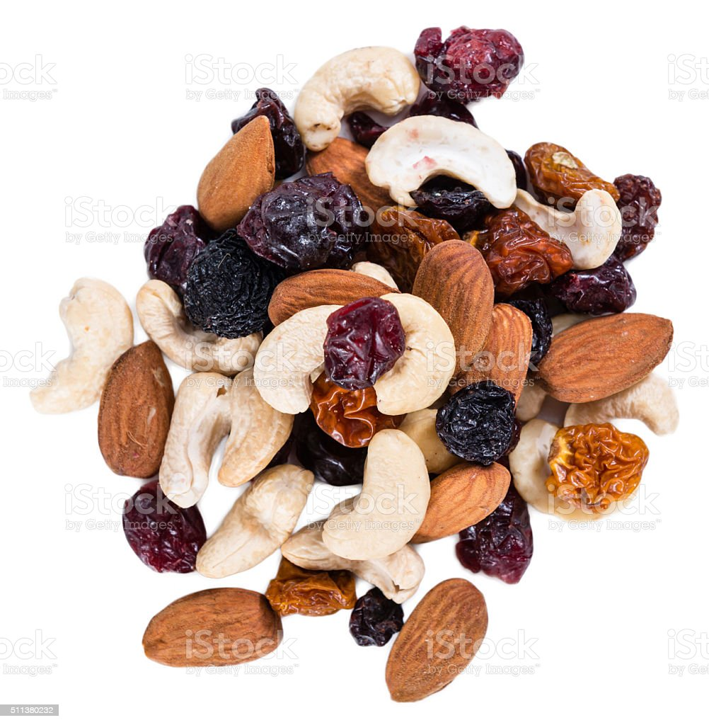 Trail Mix isolated on white stock photo