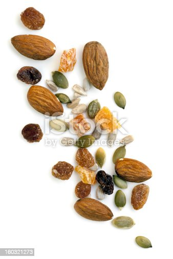 Trail mix isolated on white background.  Overhead view.