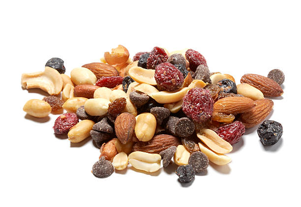 trail mix with dried cranberries - dried fruit stock photos and pictures