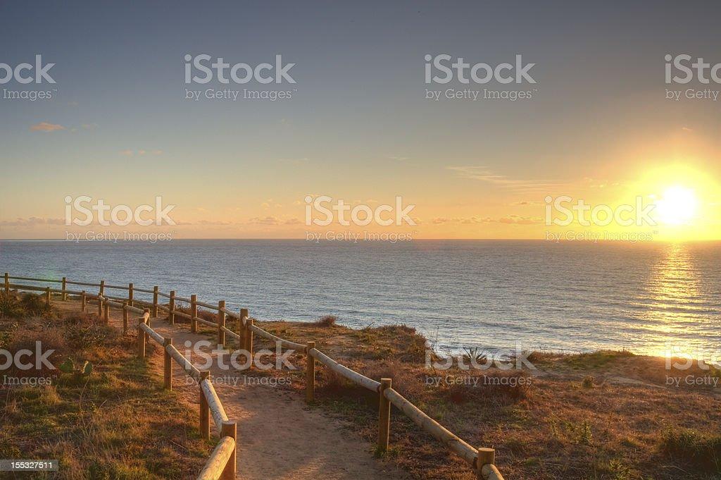 Trail next to the sunny California coast stock photo