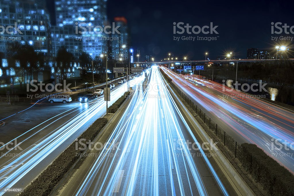 Trail of neon lights at Beijing's Central Business District stock photo