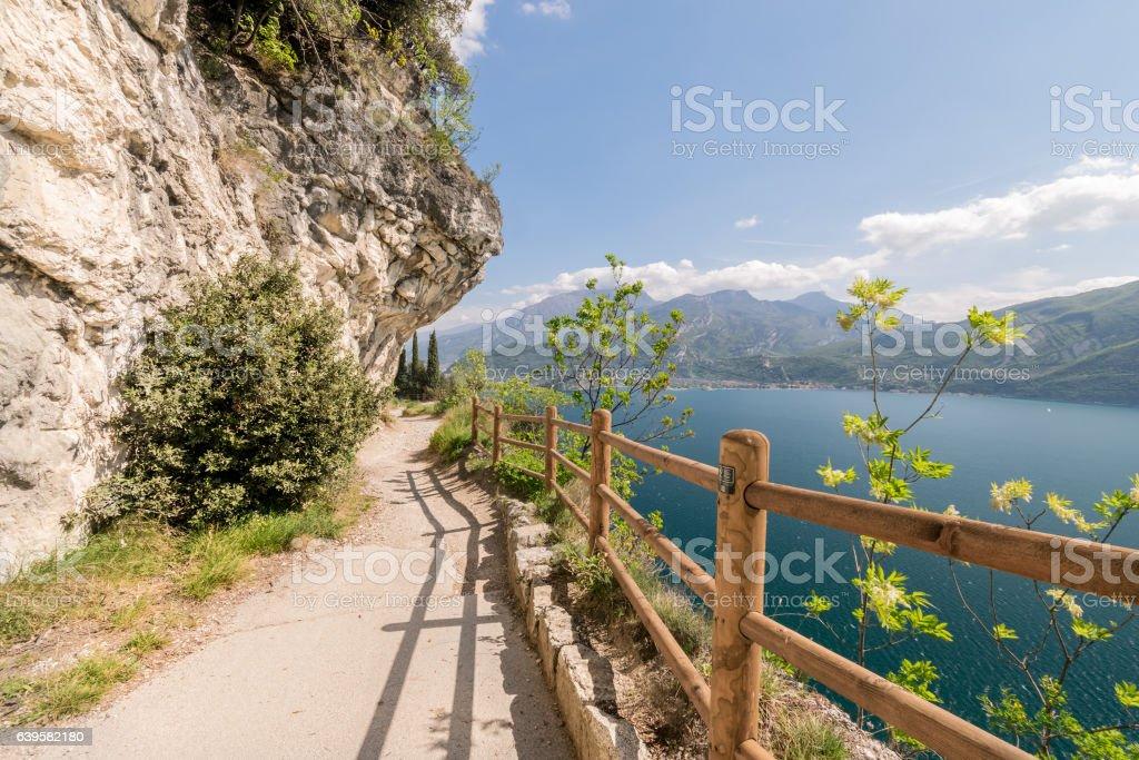 Trail of Ponale in Riva del Garda, Italy. stock photo