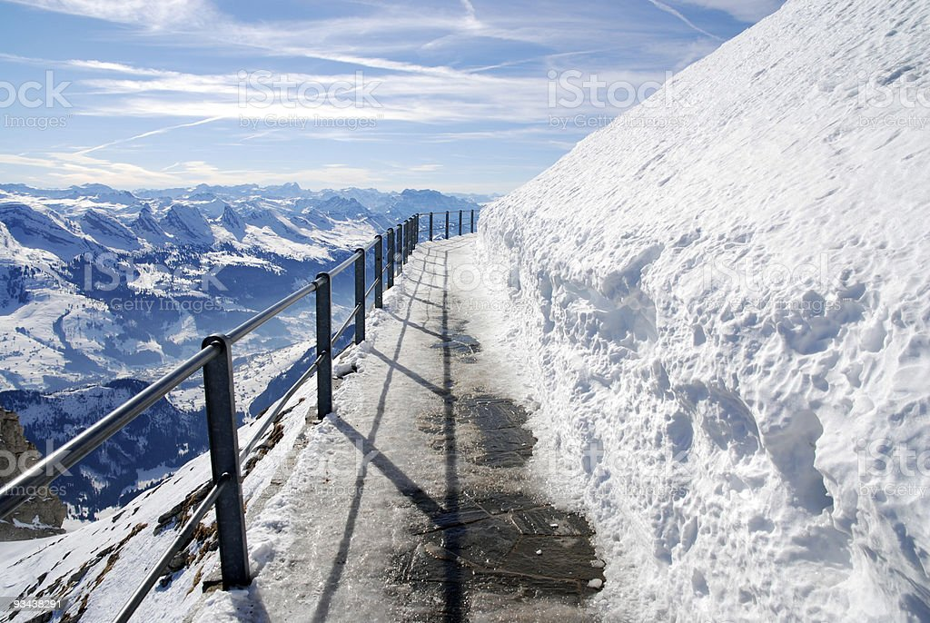 trail on mountain Säntis, Switzerland royalty-free stock photo