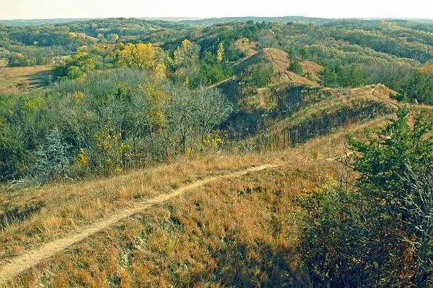 Trail on ridgetop through Loess Hills in western Iowa stock photo