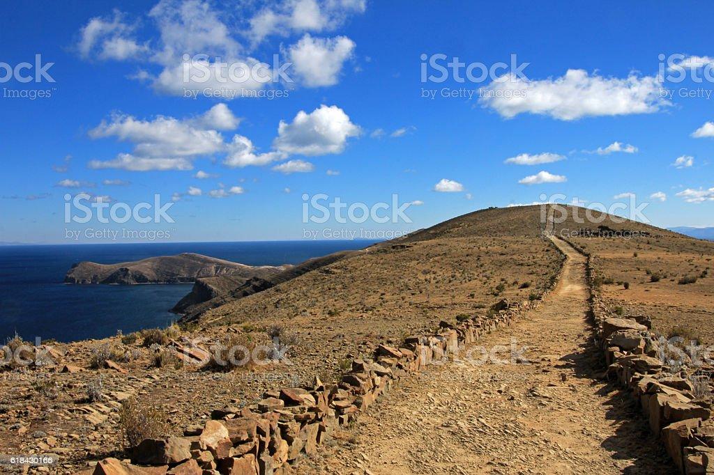 Trail on sland of the sun, Titicaca lake, Bolivia stock photo