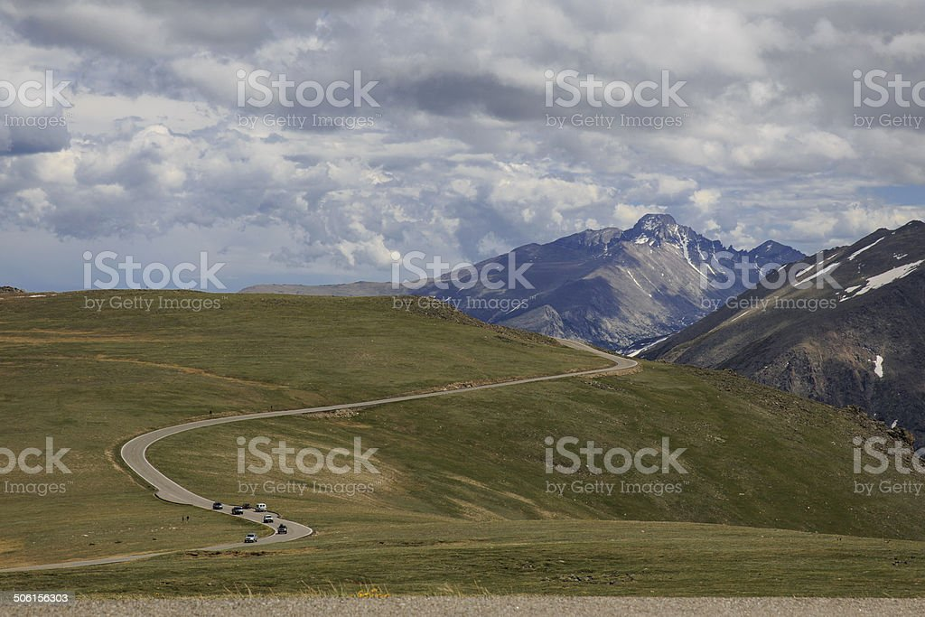 Trail Ridge Road at Rocky Mountain National Park stock photo