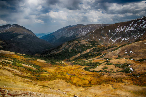 Trail Ridge Road in Rocky Mountain National Park overlooking mountains and tundra stock photo