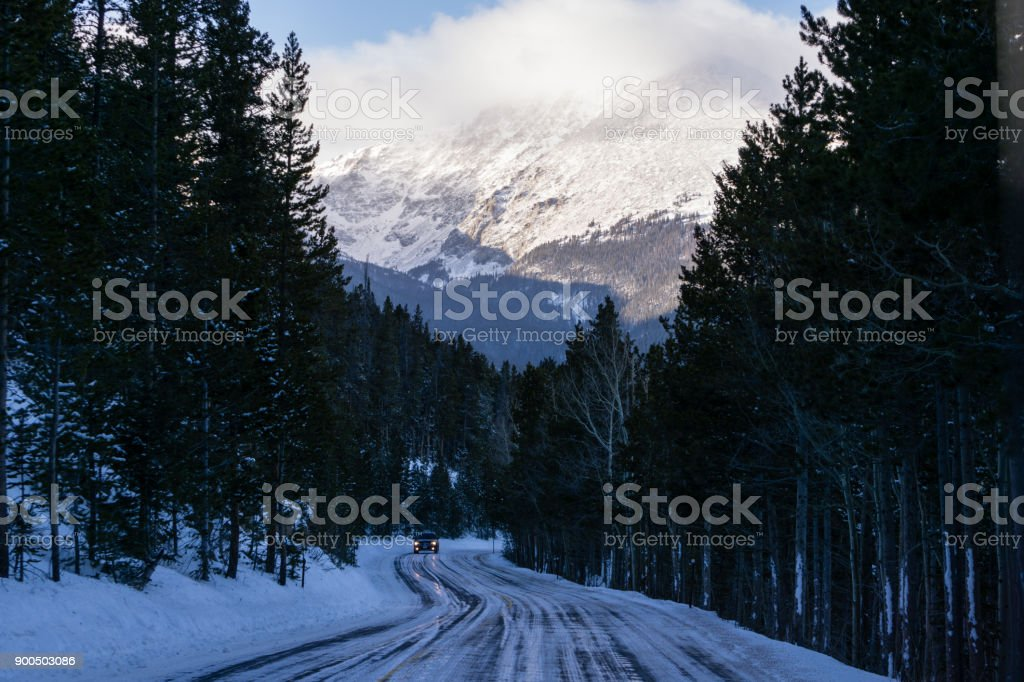 Trail Ridge Road in Winter stock photo