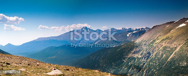 Vita from trail Ridge Road in Rocky Mountain National Park showing meadows and snow capped peaks