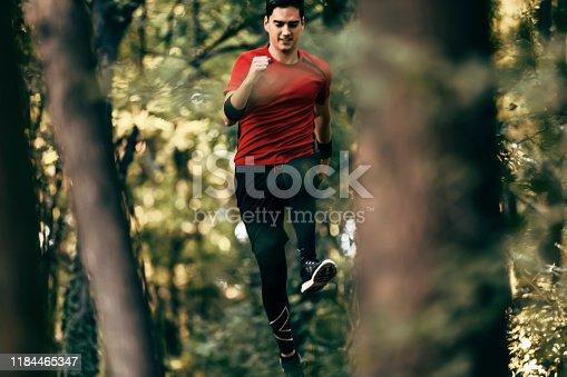 485902386istockphoto Trail running big jump 1184465347
