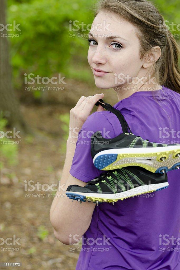 Trail Running Girl stock photo