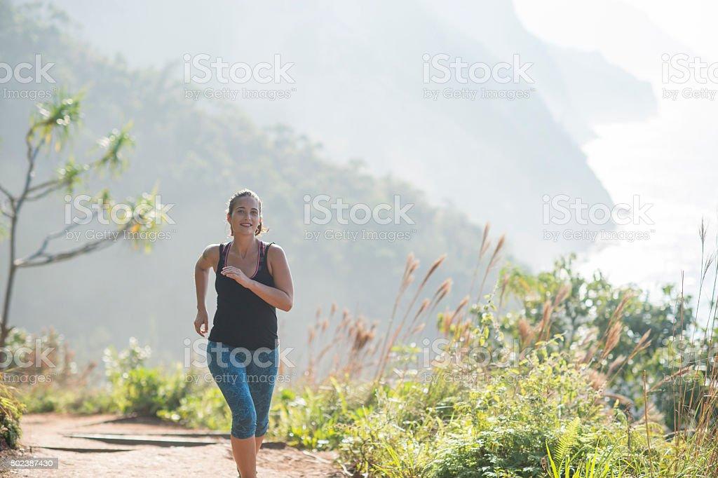 Trail Running in Hawaii stock photo