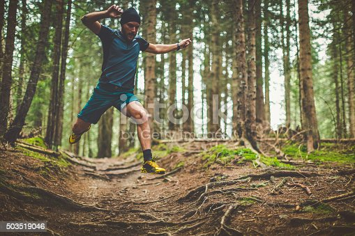 485902386 istock photo Trail running in the forest: jumping roots 503519046