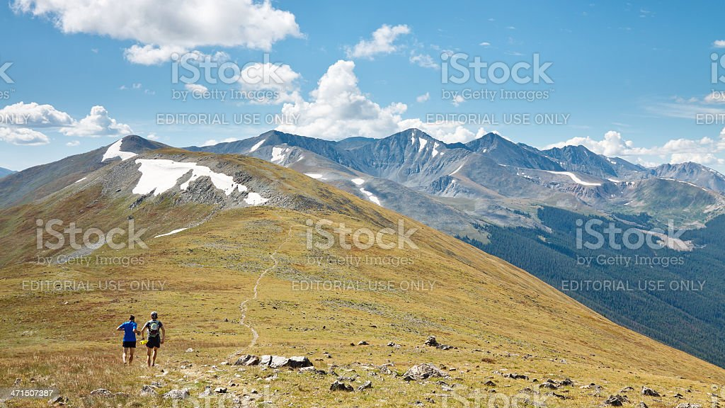 Trail Running in the Rocky Mountains, Colorado stock photo