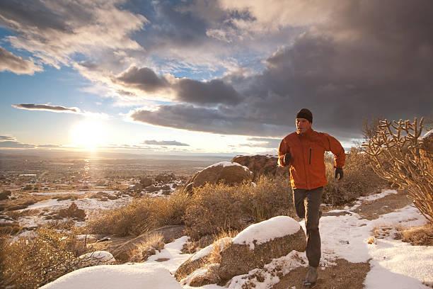 trail running landscape sunset stock photo