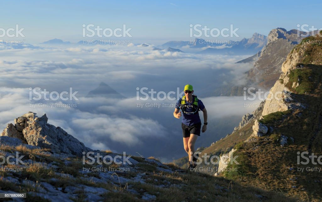 Trail running. stock photo
