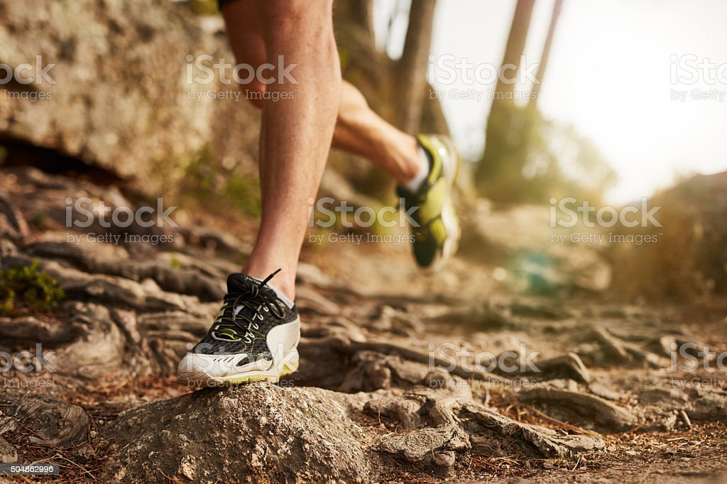 Trail running shoes stock photo