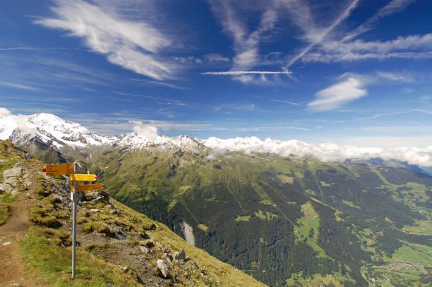 Trail Sign Along European Alps Hiking Trail stock photo