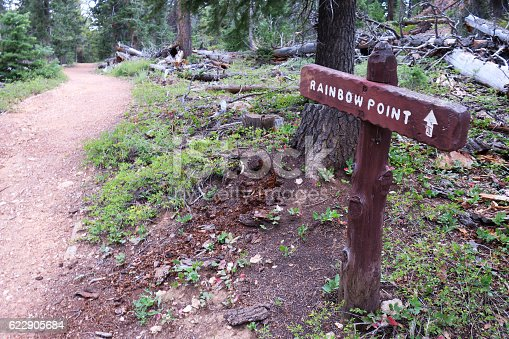 Trail sign showing the way to Rainbow Point at Bryce Canyon National Park