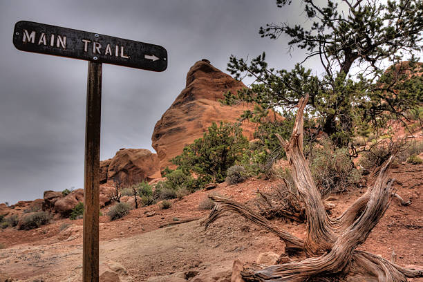 trail sign in red rock wilderness - deviate stock pictures, royalty-free photos & images